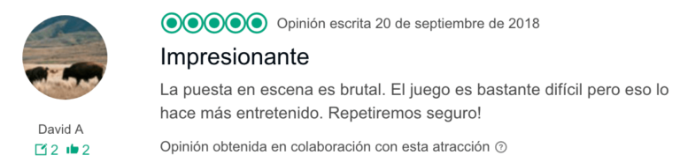 Opinion TripAdvisor Efecto Mariposa 1